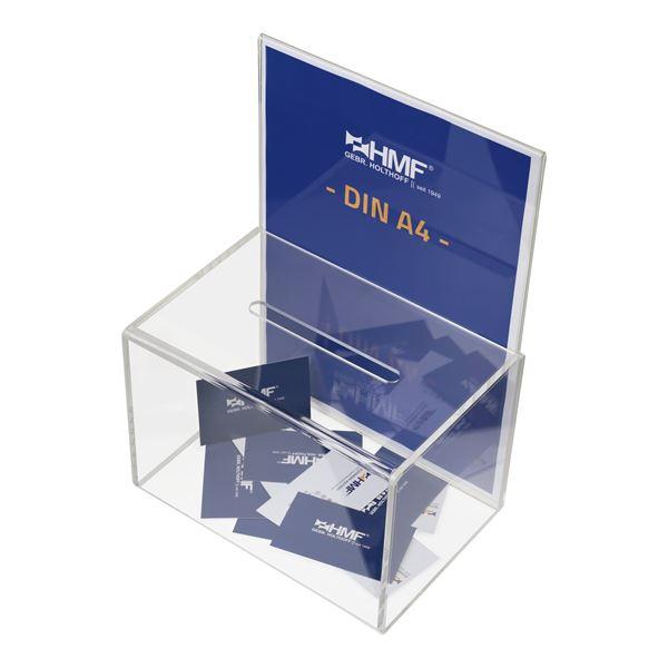 Acrylbox, Spendenbox Din A4 Einstecktafel, 22 x 15 x 31 cm