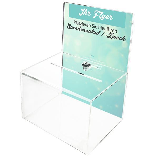 Acrylbox, Spendenbox Din A5 Einstecktafel, 21,5 x 16 x 16 cm