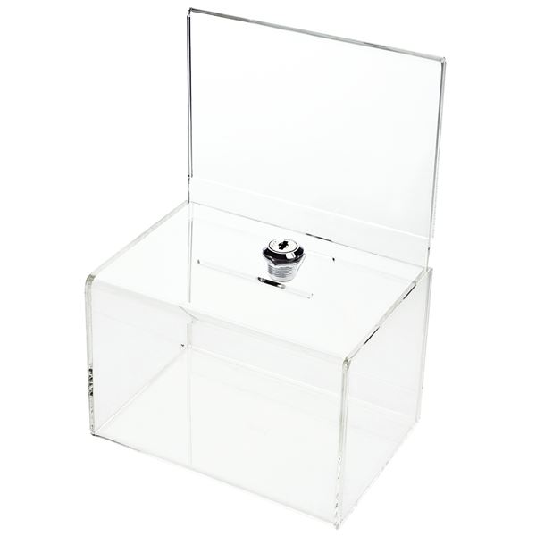 Acrylbox, Spendenbox Din A6 Einstecktafel, 15,5 x 11 x 11 cm