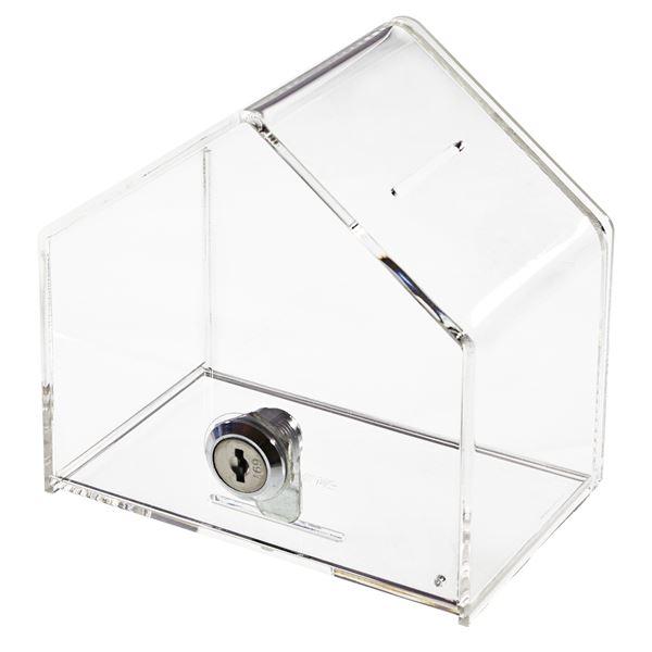Acrylbox, Spendenbox Haus mit Blatteinschub, 13,8 x 9 x 12,5 cm