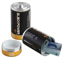 Geldversteck, Dosentresor Safe Batterie, 5,5 x 3 cm