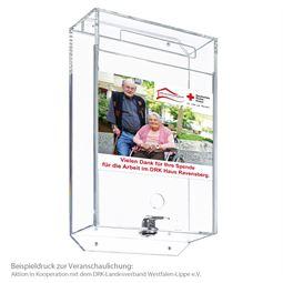 Acrylbox, Spendenbox, Pfandmarkenbox, inkl. indiviuelle Klebefolie, 31,5 x 18 x 7 cm