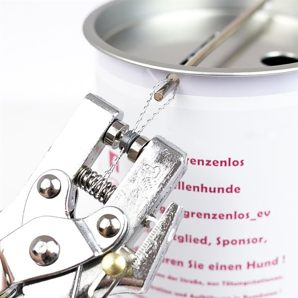 Sammeldose inkl. individuelle Klebefolie und Griff, 14,5 x 10 cm, Spendendose, lichtgrau