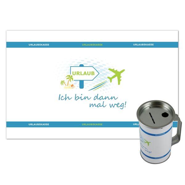 Sammeldose Urlaub Reisen, Spendendose mit Griff, inkl. Foliendruck, 14,5 x 8 cm