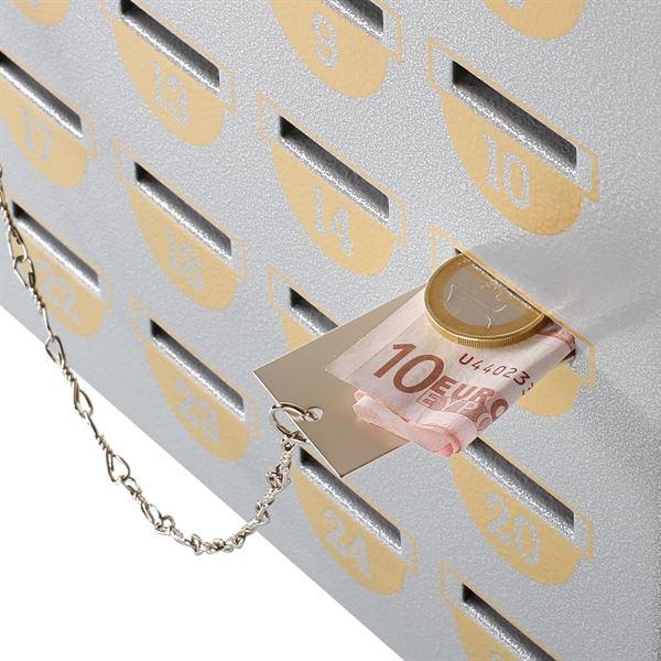 Sparkasten 25 Sparfächer inkl. Geldschieber, Sparschrank, 23 x 29 x 7 cm, silber