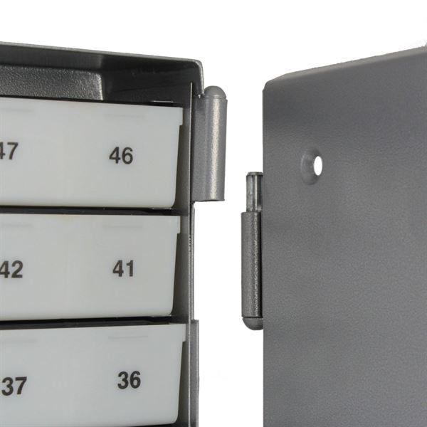 Sparkasten 50 Sparfächer inkl. Geldschieber, Sparschrank, 43 x 29 x 7 cm, silber