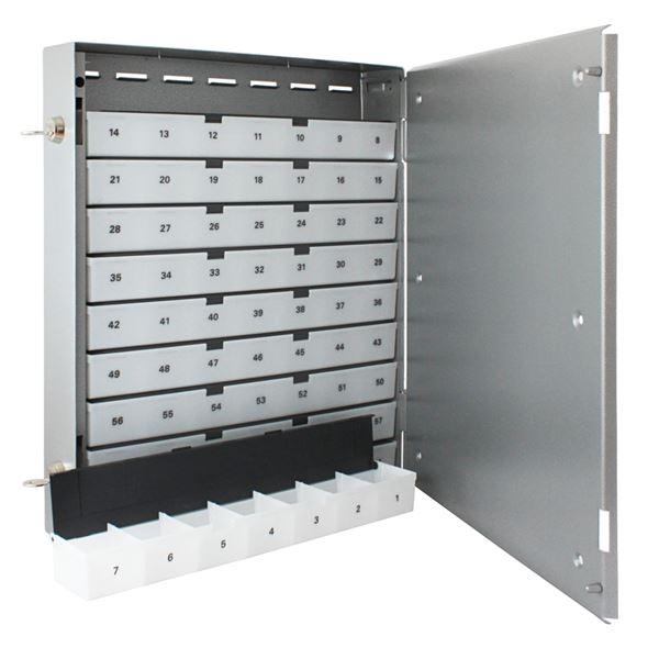 Sparkasten 70 Sparfächer inkl. Geldschieber, Sparschrank, 44 x 39 x 7 cm, silber