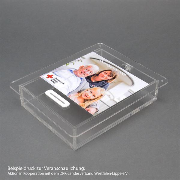 Acrylbox, Spendenbox, Teller, inkl. individuelle Klebefolie, 4,5 x 21,5 x 18 cm